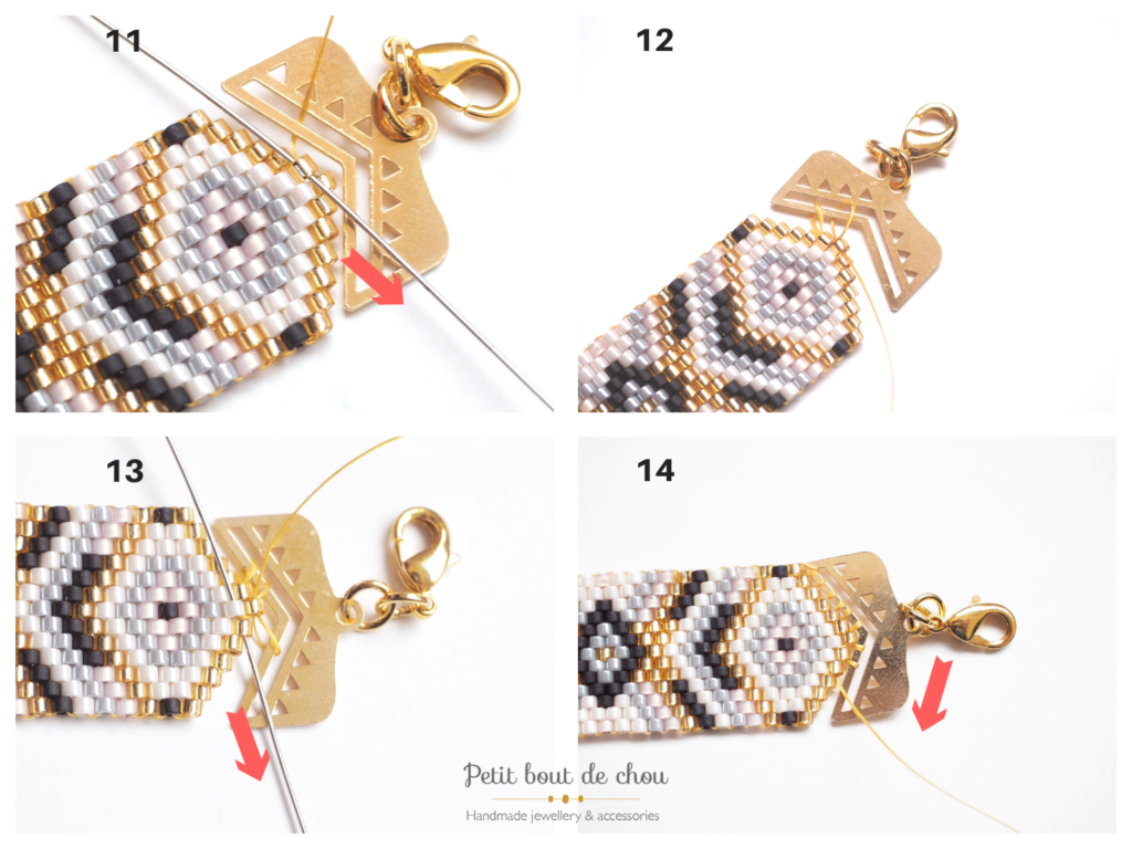 peyote bracelet pose embout fermoir tutoriel 6