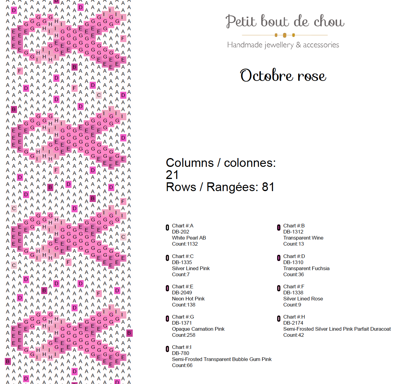 diagramme tissage octobre rose