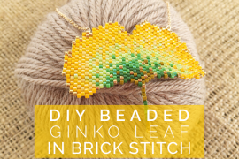 DIY Beaded Ginko Leaf in Brick Stitch