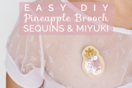 Title pineapple sequins and miyuki brooch