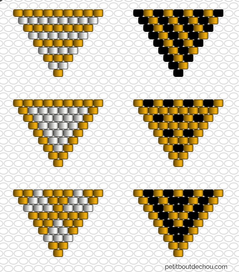 Grille de tissage miyuki triangles fanions