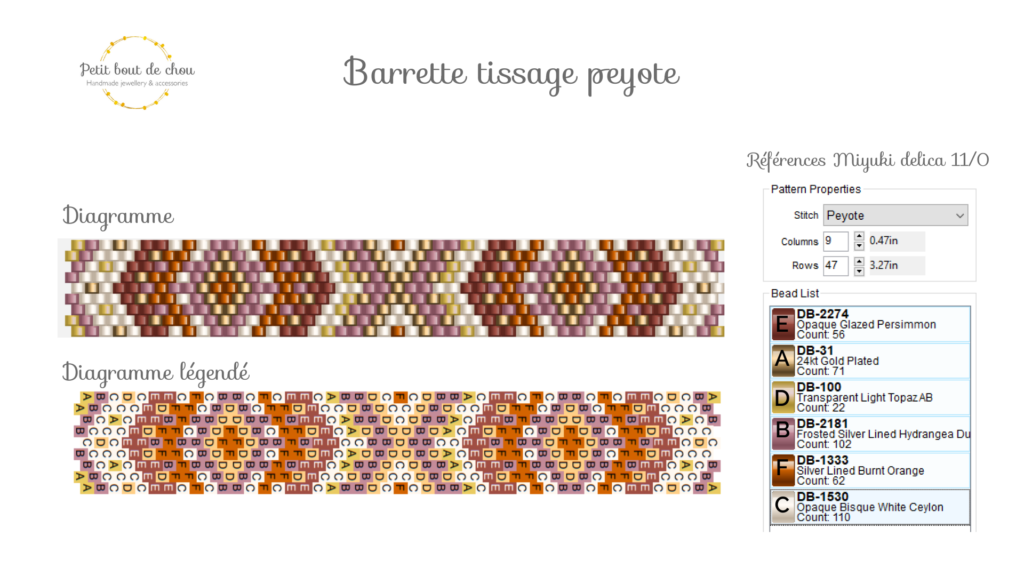 Tissage barrette Miyuki en peyote impair diagramme